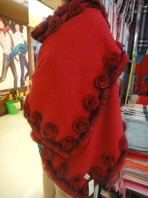 Autumn and winter  fashion 100% wool and natural rex rabbit fur wrap with  rose,ladies fur pashmina F140