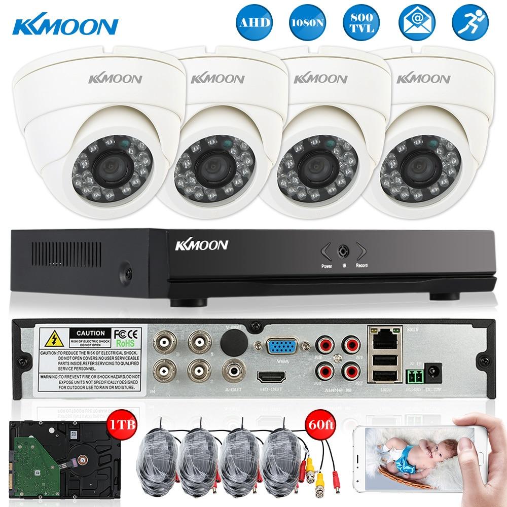bilder für KKMOON 800TVL Überwachungskamera-system 4CH Volle AHD 1080N/720 P DVR 1 T HDD HDMI Onvif DVR Recorder 4 * Nachtsicht Dome kamera