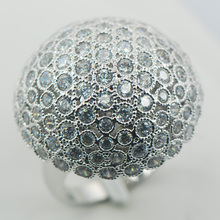 Micropavé Blanco Diamante Simulado Zafiro Anillo de Plata 925 Tamaño 6 7 8 9 10 11 A02