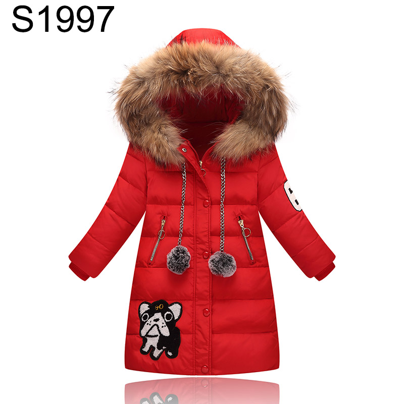 Fashion Girls Warm Down Jacket Teenagers Large Fur Collar Hooded Coat Teenagers Girls Cartoon Patchwork Warm Parkas Outerwear 2017 new women parkas female fur collar coat in the long section of large size jacket warm winter coat