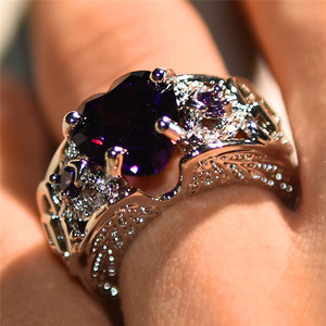 Bamos Fashion Female Romantic Angel Wing Rings Purple Heart Finger Ring Luxury Cubic Zirconia Rings For Women Vintage Jewelry