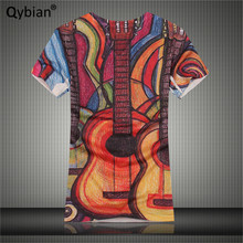 2017 Summer men t-shirt tops tees men 100% cotton tops tees men guitar printing V Neck Casual T shirts