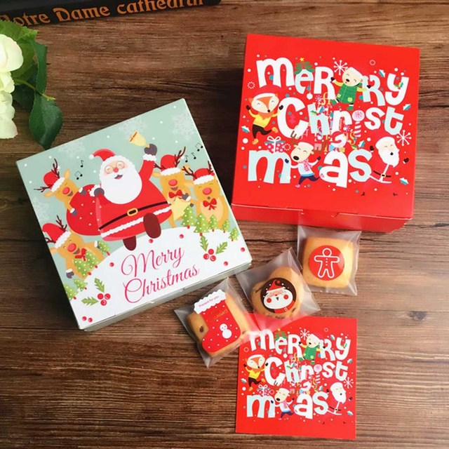Cute Cartoon Christmas Cookie Packaging Red Cookie Package Santa Decor Bakery Box Party Wedding Gifts For Kids Cardboard Boxes