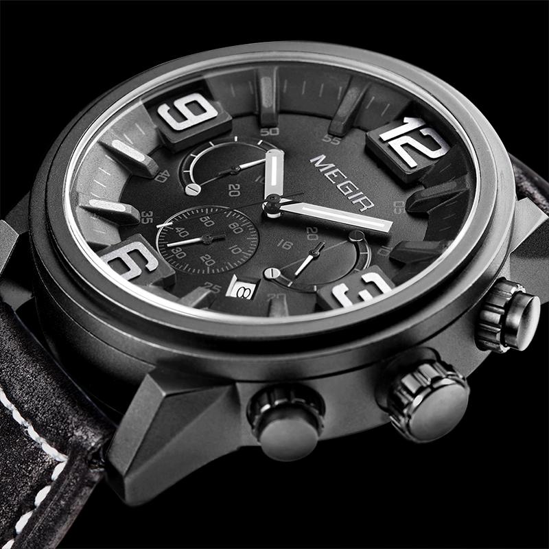Prix pour 2016 Megir Homme Horloge Hommes Montre De Luxe Hommes Célèbre Marque Chronographe Montres À Quartz Militaire Sport Homme Montre-Bracelet Relojes Hombre