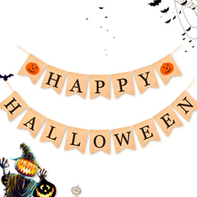 New 2m Halloween Banner HAPPY HALLOWEEN Party Decoration Linen Flag 13*17cm