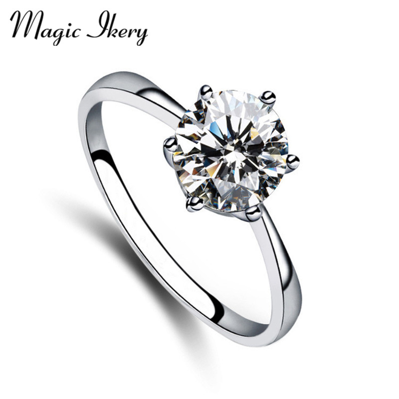 Magic Ikery Gold Plated Genuine Austria 0.9cm Cubic Zirconial Zircon Ring Anel Party Aneis Top Quality  For Love MKZ1381