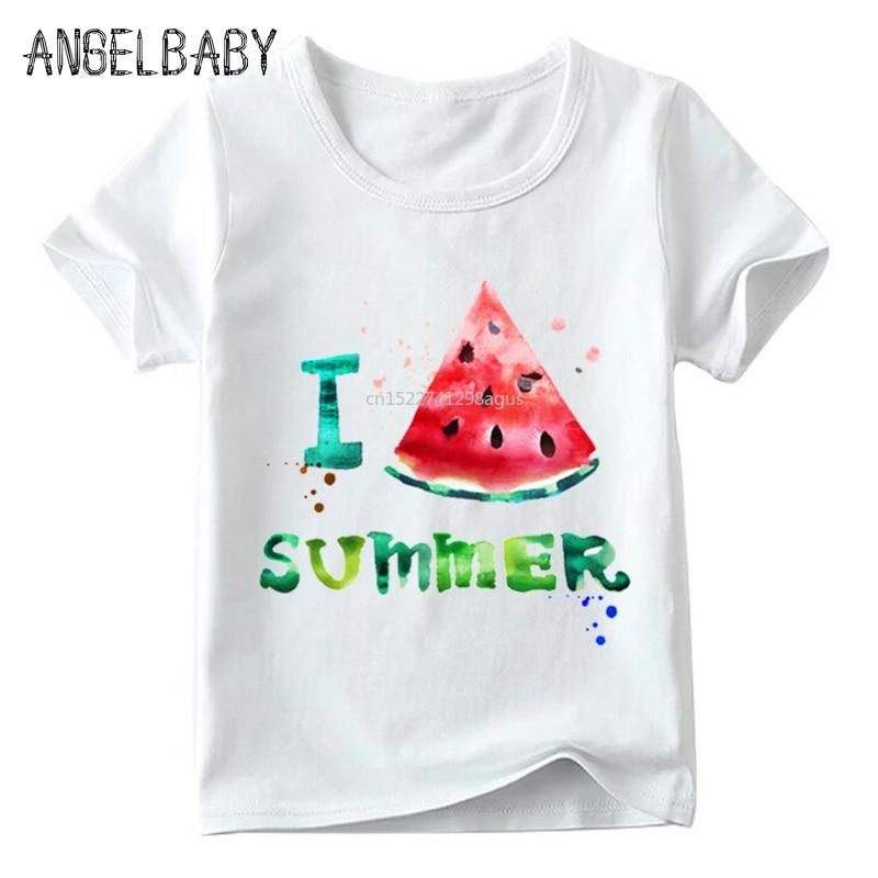 Children I Love Summer Watermelon Print T Shirt Boys And Girls Summer Short Sleeve White Tops Kids Cartoon Funny T-shirt,ooo2214