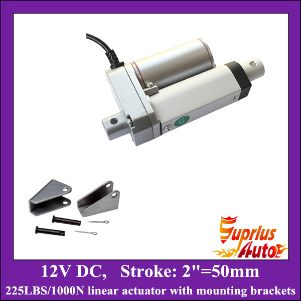 DC12V 2inch/ 50mm stroke electric linear actuator with mounting brackets, 1000N/225LBS/100KGS load mini linear actuators free shipping 16inch 400mm 24v 12v linear actuatorr 1000n 100kgs 225lbs load linear actuators with mounting brackets