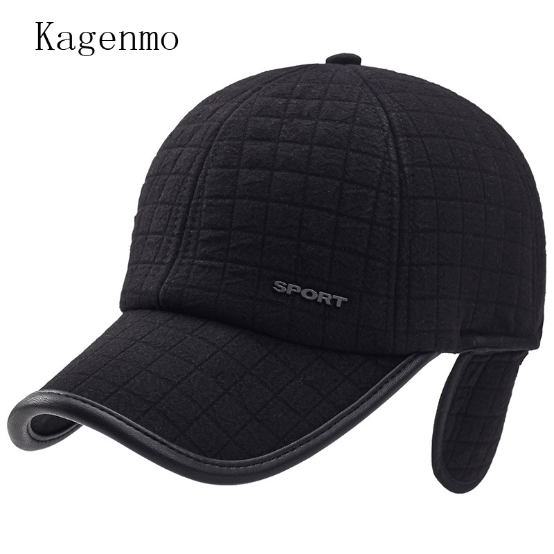 7eda71a2f26 Kagenmo fashion winter hat man winter keep warm cotton cap windproof ear  protection male vintage sombrero short brim visor-in Baseball Caps from  Apparel ...