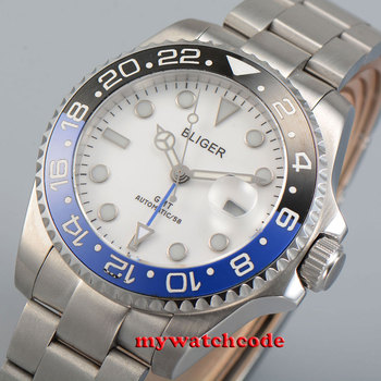 43mm bliger white dial ceramic bezel sapphire glass automatic mens watch P25