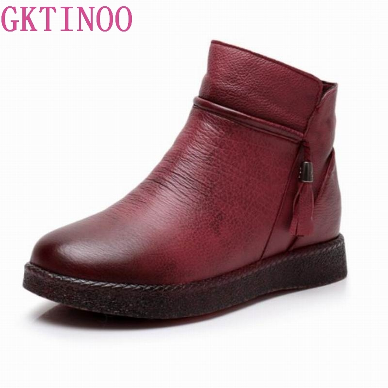 GKTINOO Handmade Ankle Boots Warm Velvet Flat Boots Retro Winter Snow Boots Botines Mujer Genuine Leather Women ShoesGKTINOO Handmade Ankle Boots Warm Velvet Flat Boots Retro Winter Snow Boots Botines Mujer Genuine Leather Women Shoes