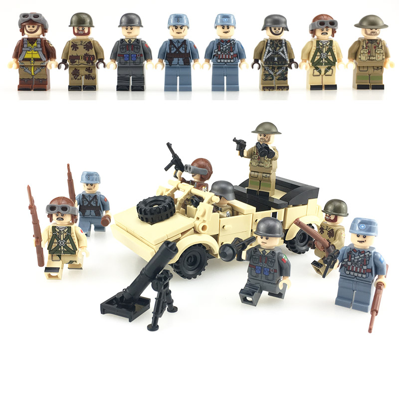8PCS Eight Countries Soldiers Weapons Type 82 Combat Vehicle Building Blocks Compatible Legoinglys Military Toys For Children
