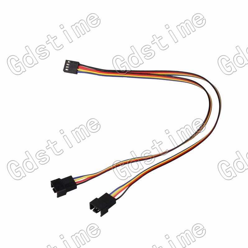 Gdstime 20 pcs lot 2510-4p Female to dual 2510-4p male cable wire 30cm for CPU PC Case Fan Y-Splitter Adapter Cable