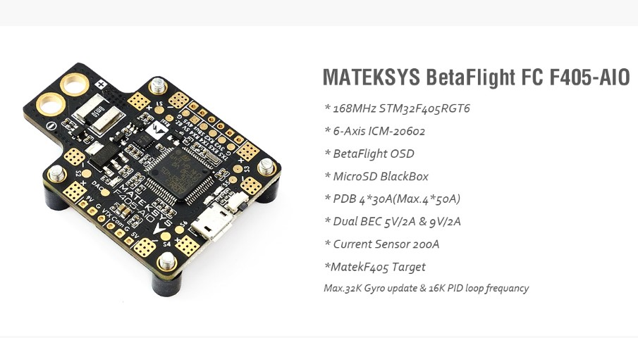 Drone MATEKSYS BetaFlight FC built-in OSD F405-AIO F4  integrated flight control For FPV Racing Mini Drone Quadcopter teeny1s f4 flight controller board with built in betaflight osd 1s 4 in1 blhelis esc for diy mini rc racing drone fpv