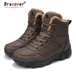 Bravover New Winter Keep Warm Leather Martin Boots Timber Land Shoes Tooling Snow Boots Safety Work Shoes Non-Slip Ankle Boots