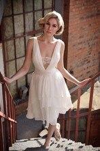 Free Shipping 2014 Cheap Handmade Sheath V-Neck Chiffon Bride Dress Short WX11624