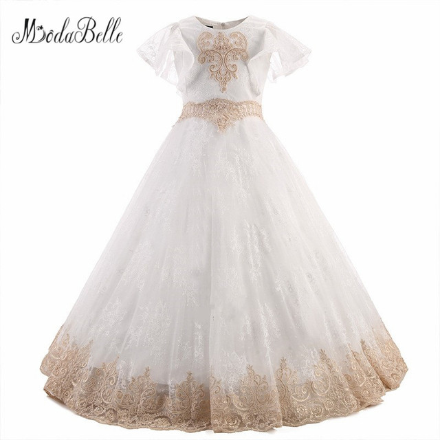 75d115b7d1 modabelle Tulle Flower Girls Dress Lace Appliques Robe Fille Premiere  Communion Pageant Ball Gowns For Girls Floor Length 2018