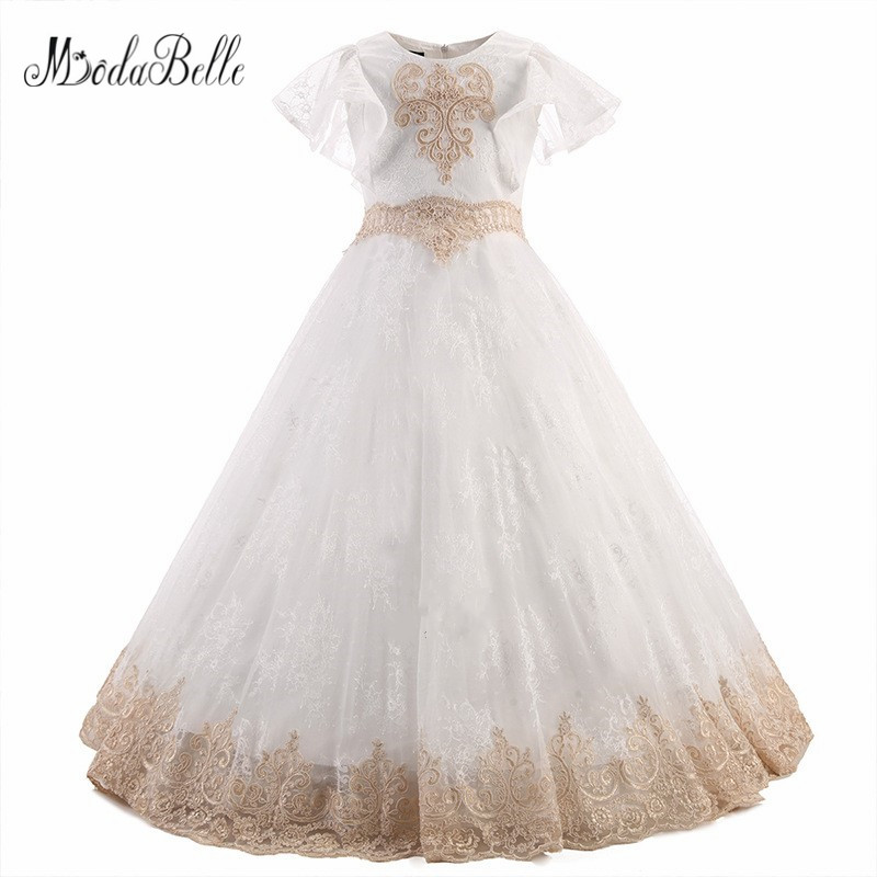 modabelle Tulle   Flower     Girls     Dress   Lace Appliques Robe Fille Premiere Communion Pageant Ball Gowns For   Girls   Floor Length 2018