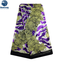 Bestway Sequins Lace Fabric Embroidered French African Mesh Fabrics Sewing Materials For Nigeria Party Dress