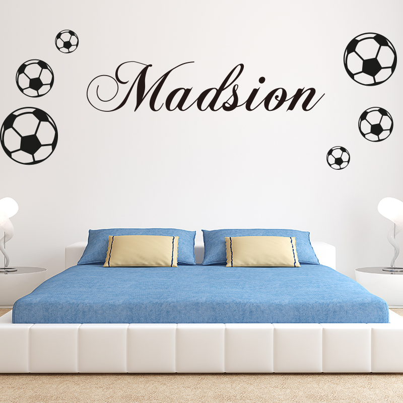 Boys Name Football Sticker Baby Nursery Custom Soccer Name Wall Stickers Kids Room Personalized Name Football Sticker Cut Vinyl