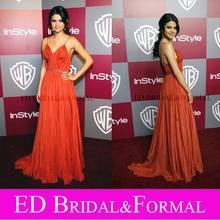 Selena Gomez Kleid Spaghetti-trägern V-ausschnitt Falten Golden Globes 2011 Roter Teppich-berühmtheit Formale Abendkleid