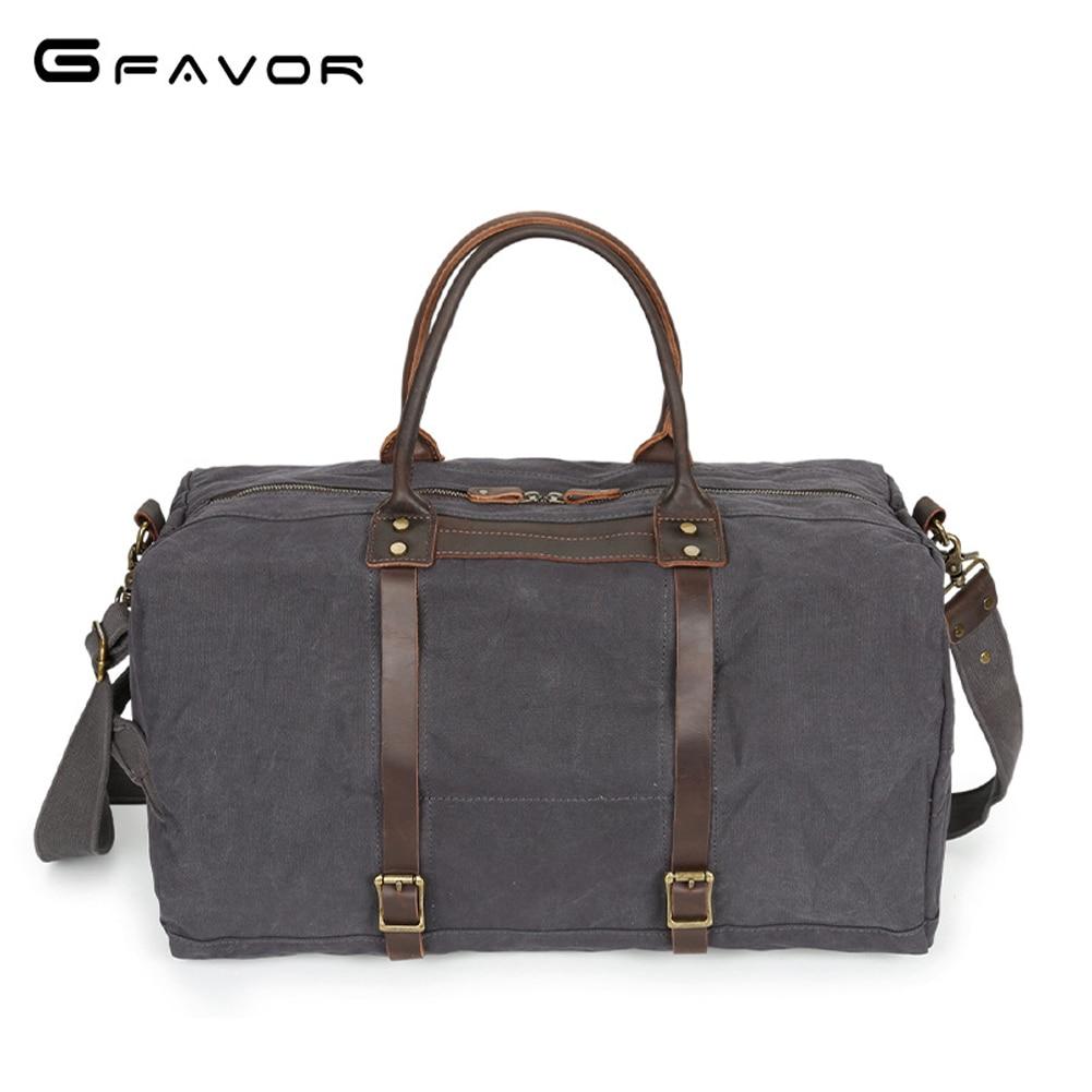 G-FAVOR Large Capacity Travel Bag Men Canvas&Crazy Horse Leather Handbag Male Messenger Bag Waterproof Multifunctional Crossbody цена