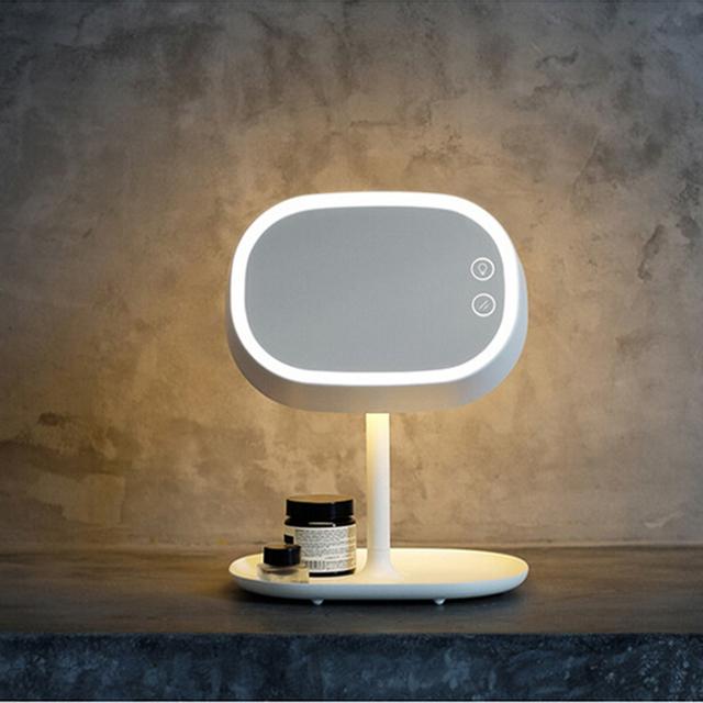 Recargable de Pantalla Táctil Soporte De Mesa Espejo de aumento Espejo de Maquillaje Iluminado LLEVÓ La Lámpara Luz de La Noche