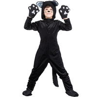Cat Cosplay Halloween hooded Costumes boys jumpsuit with tail+ gloves + socks kids party clothes girls set Velvet 4 to 9 yrs