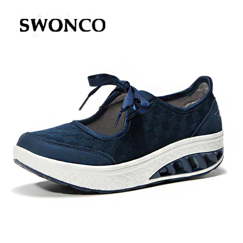 SWONCO Platform Sneakers Flats-Shoes Fashion Mesh Summer Mujer Zapatillas Female Breathable
