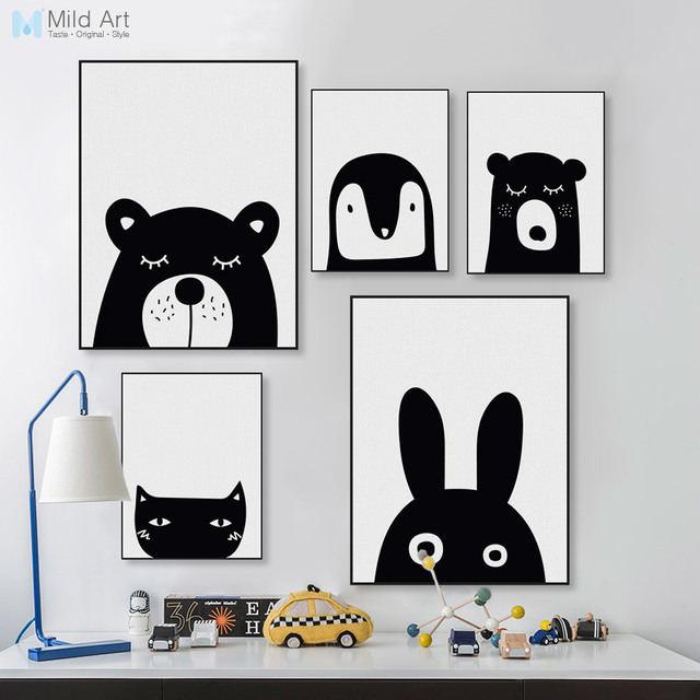 Black white kawaii animals bear rabbit poster prints nordic baby kids room wall art pictures home