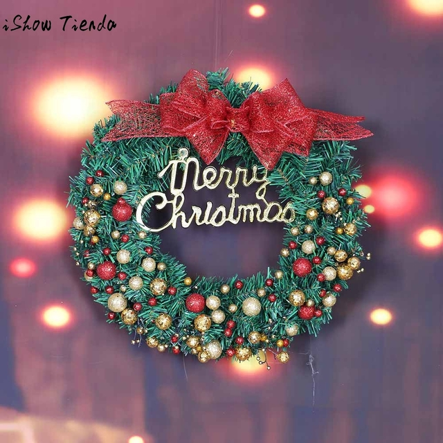 merry christmas wreath christmas ornaments xmas tree hanging happy new year garland window door decorations bowknot