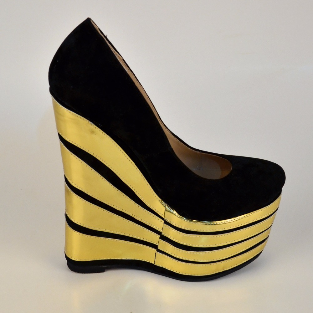 Popular Black and Gold Wedge Heels-Buy Cheap Black and Gold Wedge ...