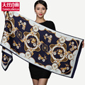 Vintage Luxury brand designer heavy silk satin floral scarf  women winter Accessories sheer celebrity scarves infinity size