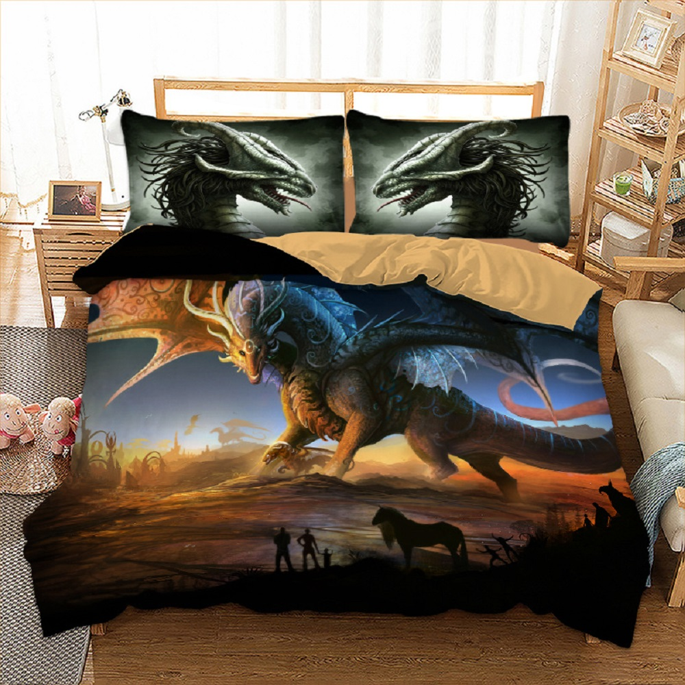 Dragon Bedding Set Twin Full Queen King Size Bed Linen Set 2/3pcs Animals Microfiber Duvet Cover Set With Pillow Sham Bedclothes