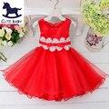 Venta caliente ropa de Los Niños vestidos de Niña formal del banquete de boda de verano estilo de los bebés del vestido rojo con arco vestido de Encaje para 2-10years
