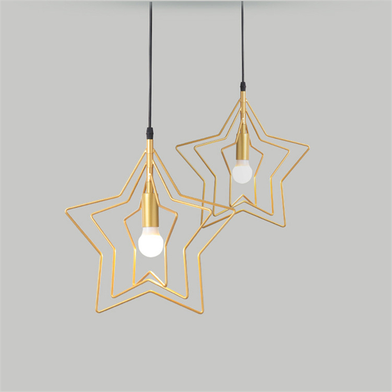 Modern Gold Lighting Fixture Star Iron Pendant Lamp for Bedroom Kitchen Counter Top Home Deco Suspension Luminaire LusterModern Gold Lighting Fixture Star Iron Pendant Lamp for Bedroom Kitchen Counter Top Home Deco Suspension Luminaire Luster