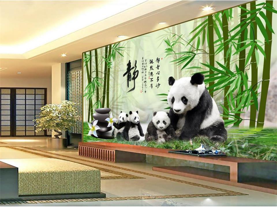 Custom Photo 3d Wallpaper Mural Non Woven Panda Bamboo