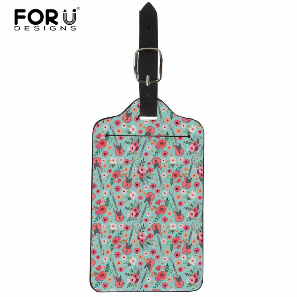 FORUDESIGNS Guitar Suitcase Luggage Tag Cartoon ID Address Holder Baggage Label Identifier Travel Accessories Suitcase Tags