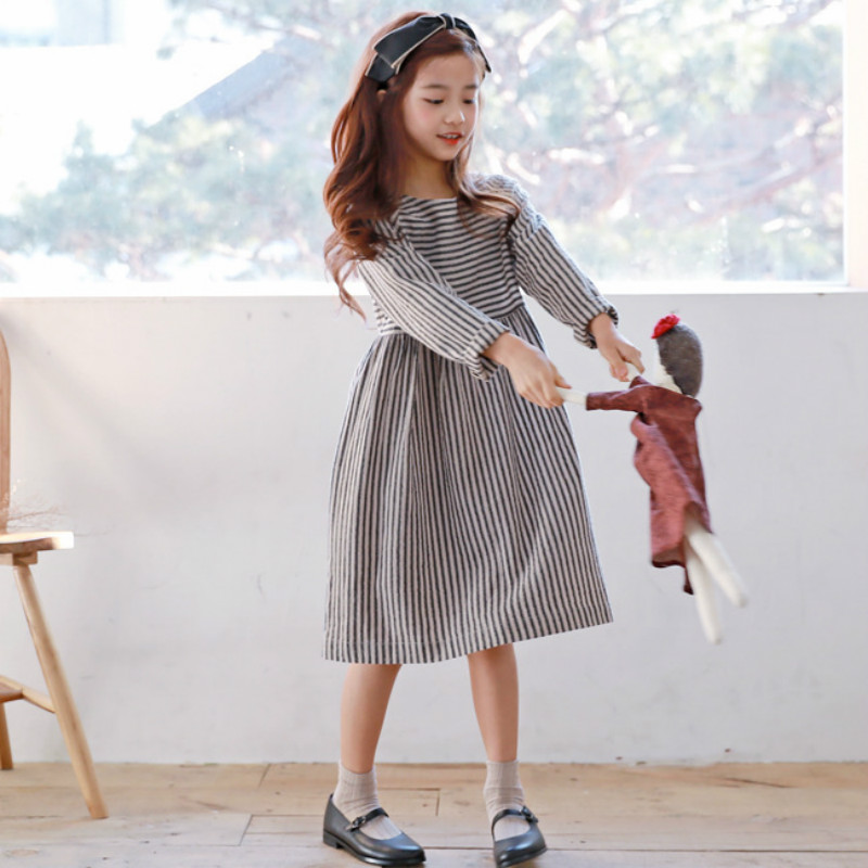 New 2018 Autumn Retro Girls Dress Children Cotton Dress Kids Long Sleeve Clothes Toddler Casual Dress Baby Striped Dress,#3148 hidden pocket striped dress