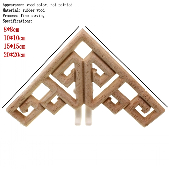 RUNBAZEF Decal Corner Frame Doors Furniture Woodcarving Decorative Wooden Figurines Wood Carved Applique Vintage Home Decor 2