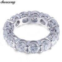 Choucong кольцо вечности Круглый 6 мм 5A Циркон Сона Cz 925 пробы серебро Обручение обручальное кольцо кольца для Для женщин Для мужчин тонкой ювели