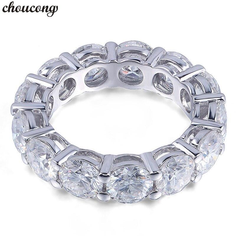Choucong 6mm 5A Zircão Sona Eternidade Anel Rodada Cz 925 Prata Esterlina Anéis de Casamento Banda de Noivado para Mulheres Homens fine Jewelry