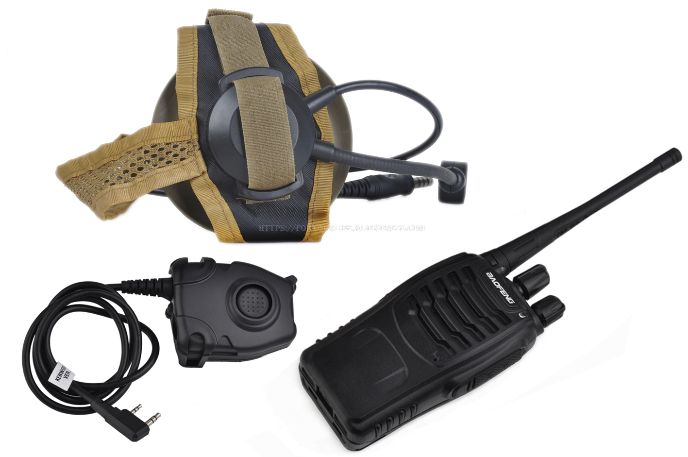 5x Z Tactical Bowman Elite II Headset+PTT Right//Left Ear for Kenwood 2 Pin Radio