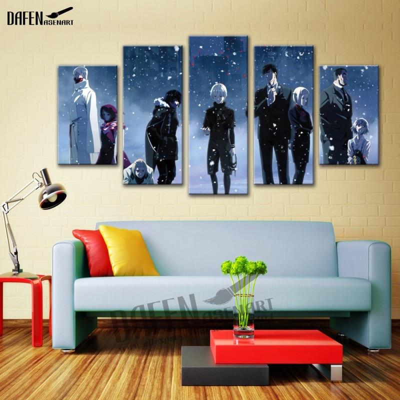 5 panel pantalla japantokyo Ghoul anime Movie poster lienzo ...