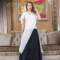 VOA White Heavy Silk T Shirt V Neck Pullover Fake Two Piece Set Ladies Tops Harajuku Irregular Tee Luxury Cross Clothes B906