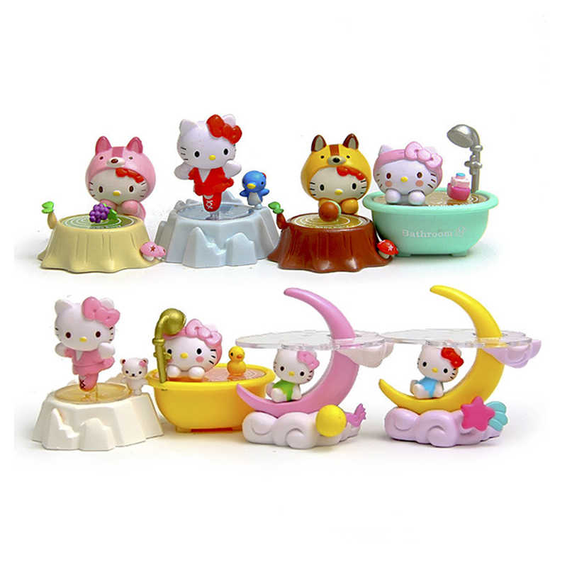 8pcs/lot Kawaii Moon Kitty Miniature Figurines Resin Craft Gift Figurine Cartoon Animal Toys For Children Cat Souvenir Doll