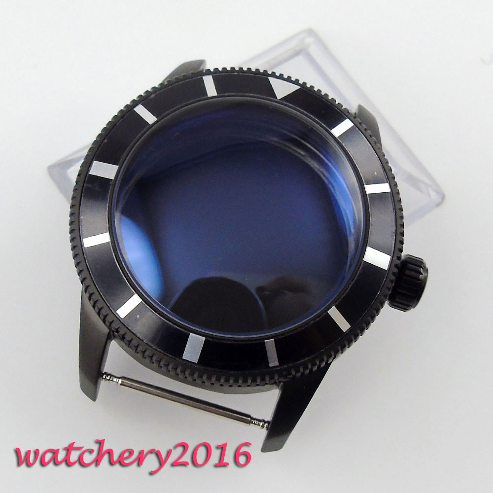 лучшая цена 46mm black PVD case 316L stainless steel fit ETA 2824 2836 Movement Men's Watch Case