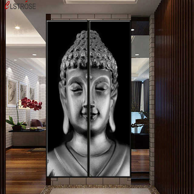 CLSTROSE Two Pieces Canvas Wall Art Modern Grey Buddha Painting 2 Pieces Half Grey Buddha Combinate Oil Paintings Wall Decor