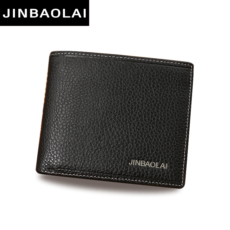 JINBAOLAI Simple Men Wallets Leather Genuine Card Holder Wallet Solid Short Male Purse Business Brand Wallets for men carteira 2017 men business short leather wallet male brand wallets purses with card holder for men