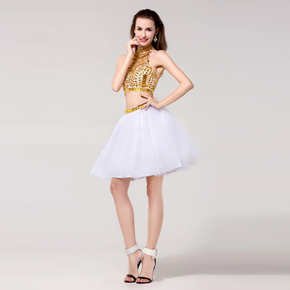 White Gold Two Piece Short Prom Dresses Crystal Beaded Ball Gowns ...